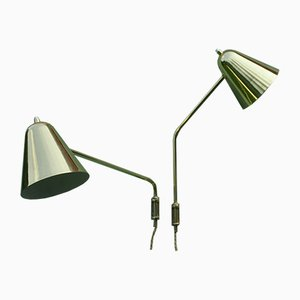 Adjustable Brass Wall Lamps by Jacques Biny, 1950s, Set of 2