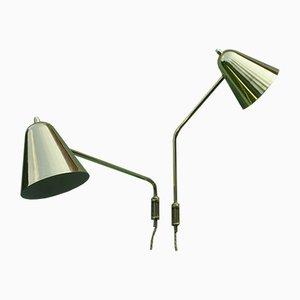Lámparas de pared ajustables de latón de Jacques Biny, años 50. Juego de 2