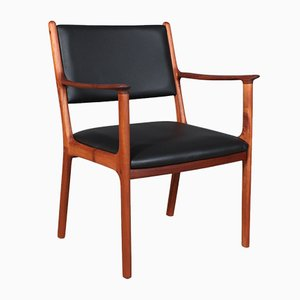 Vintage Model PJ 412 Black Semi-Aniline Leather & Mahogany Armchair by Ole Wanscher for Poul Jeppesens Møbelfabrik