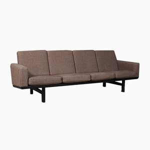 Sofá de tres plazas modelo 236/4 vintage de roble y tela de Hans J. Wegner para Getama