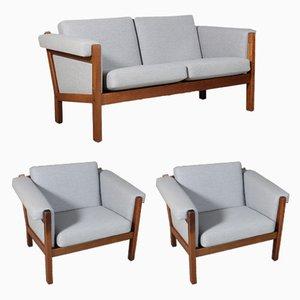 Sofá de dos plazas modelo GE-40 vintage y dos sillones de Hans J. Wegner para Getama