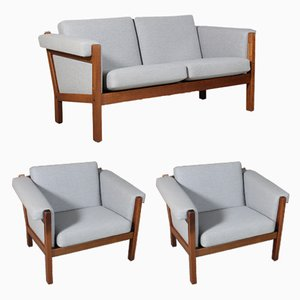 Vintage Model GE-40 2-Seater Sofa & 2 Lounge Chairs Set by Hans J. Wegner for Getama