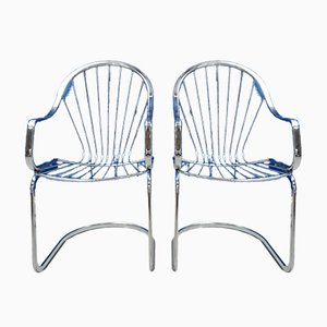 Chaises Mid-Century en Chrome, 1970s, Set de 2