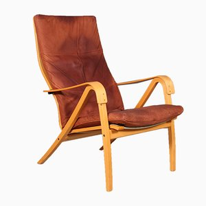 Vintage Swedish Beech & Leather Lounge Chair, 1960s