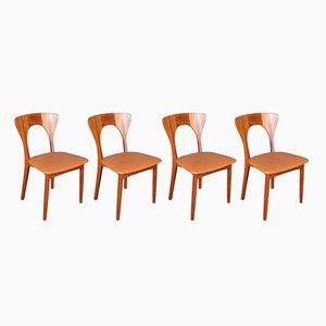 Vintage Model Peter Solid Teak Dining Chairs by Niels Koefoed, 1960s, Set of 4