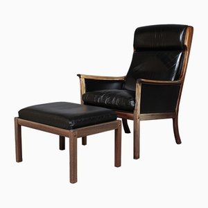 Vintage Black Leather Lounge Chair with Ottoman by Ole Wanscher for Poul Jeppesen, 1960s