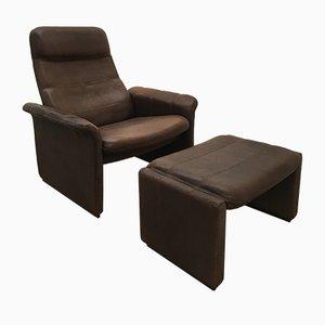 Verstellbarer DS52 Sessel aus Büffelleder mit Fußhocker von De Sede, 1970er