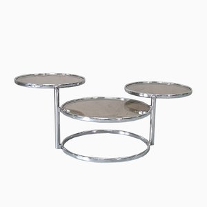 Italian Modern Chromed Round Swiveling Coffee Table, 1970s
