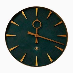 German Brass Wall Clock from Telefonbau und Normalzeit, 1960s