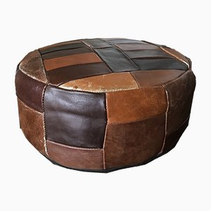 Vintage Leather Mini Pouf or Side Table