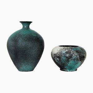 Vases en Faïence par Svend Hammershøi pour Kähler, Danemark, 1930s, Set de 2