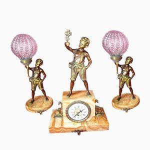 Juego de lámparas y dos relojes estilo Imperio vintage de bronce, años 20