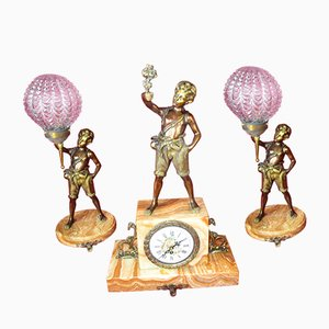Vintage Empire Style Bronze 2 Lamps & Clock Set, 1920s