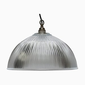 Glass Shade Industrial Hanging Light, 1950s