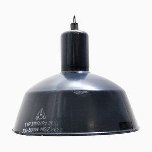 Lampes à Suspension d'Usine Vintage en Émail Bleu