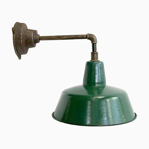 Lámpara de pared vintage esmaltada en verde