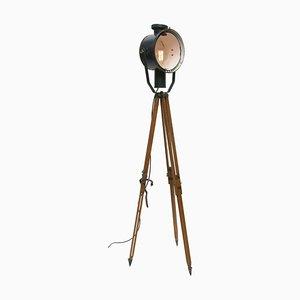 Lampe Projecteur Tripode en Bois, 1950s