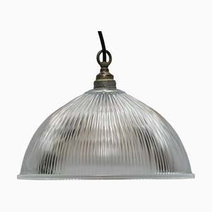 Industrial Glass Shade Hanging Light, 1950s