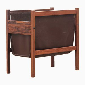 Scandinavian Leather & Rio Rosewood Magazine Rack, 1960s