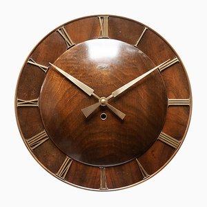 Reloj de pared estilo Art Déco de nogal de Kienzle, años 50