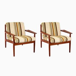 Moderne dänische Sessel mit Gestell aus Teak von Arne Vodder für Glostrup, 2er Set
