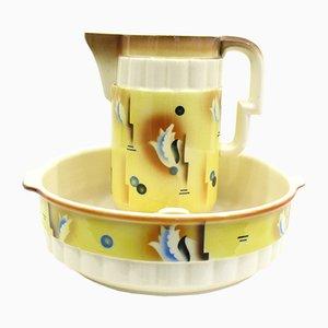 Art Deco Style Ceramic Pitcher & Bowl, 1950s
