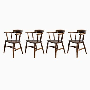 Antique English Captain Bow Chairs, 1880s, Set of 4