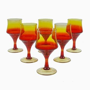 Wine Glasses by Zbigniew Horbowy for Huta Szkla Sudety, 1970s, Set of 6