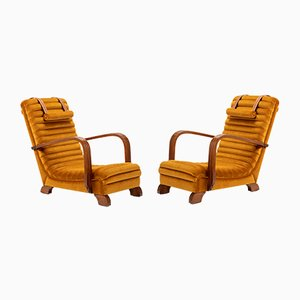 Art Deco Streamline Lounge Chairs by Heals of London, 1930s, Set of 2