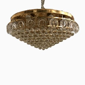 Große Mid-Century Einbaulampe aus Kristallglas von Gaetano Sciolari