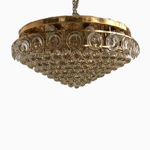 Lampada da soffitto grande Mid-Century in cristallo di Gaetano Sciolari