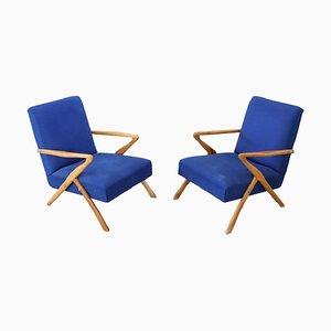 Blaue Vintage Sessel von Paolo Buffa, 1950er, 2er Set