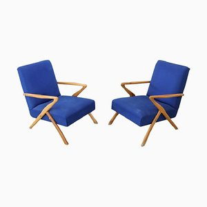 Vintage Blue Armchairs by Paolo Buffa, 1950s, Set of 2