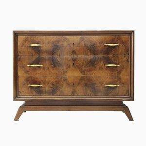 Mid-Century Italian Chest of Drawers with Brass Handles, 1950s