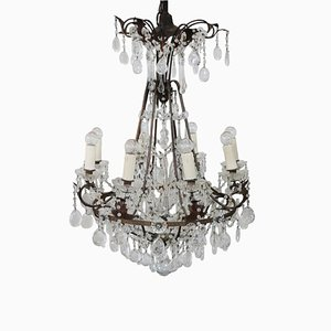 Antique Crystal & Bronze Chandelier, 1880s