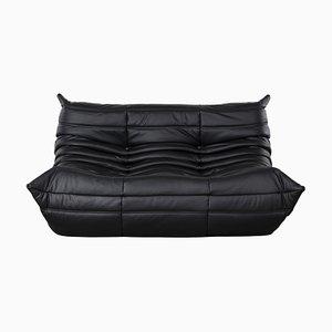 Black Leather Togo Sofa by Michel Ducaroy for Ligne Roset, 1973