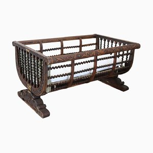 Antique Carved & Turned Walnut Crib, 1880s