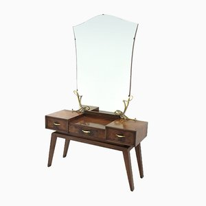 Mid-Century Italian Vanity Desk with Mirror, 1950s