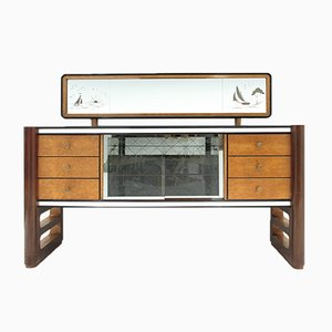 Italienisches Mid-Century Sideboard mit Spiegel von La Permanente Del Mobile Cantù, 1950er