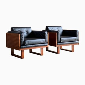 Teak & Black Leather Armchairs by Poul Cadovius for France & Søn, 1960s, Set of 2