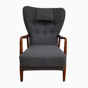 Danish High-Back Wool Armchair, 1960s