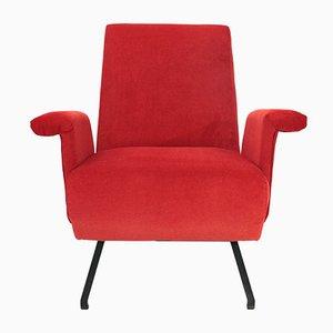 Butaca italiana Mid-Century de terciopelo rojo, años 50. Juego de 2