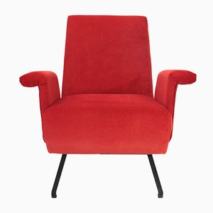 Mid-Century Italian Red Velvet Armchair, 1950s, Set of 2