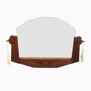 Art Nouveau Dutch Carved Oak Wall Mirror