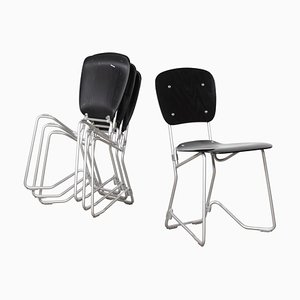 Black Plywood & Aluminum Stackable Chair by Armin Wirth for Aluflex, 1980s