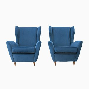 Mid-Century Italian Blue Velvet Armchair, 1950s, Set of 2