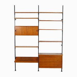 Scandinavian Shelving Unit with Reversible Sliding Doors from Pira, 1960s