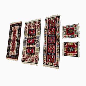 Tappeti Kilim vintage in lana, anni '60, set di 5
