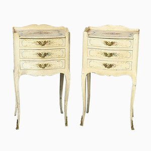 Louis XV Style French Craquelure Nightstands, 1950s, Set of 2