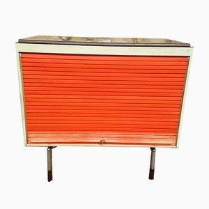 Mobiletto arancione e grigio con anta scorrevole di Strafor, anni '70